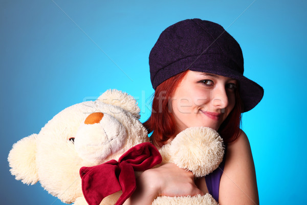 Beautiful girl with teddy bear at St. Valentine's Day  Stock photo © Massonforstock