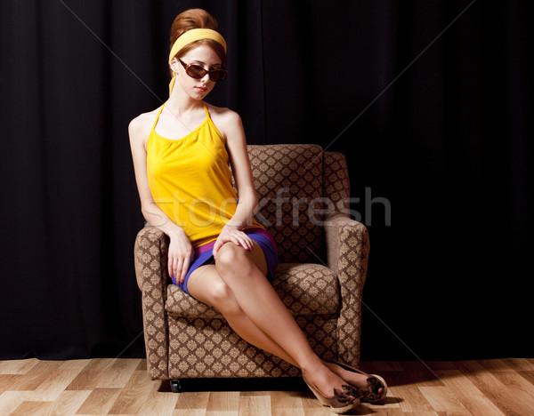 Kız koltuk 70s el moda Stok fotoğraf © Massonforstock