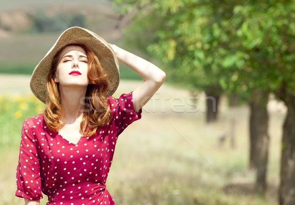 Vörös hajú nő lány szabadtér nők divat nyár Stock fotó © Massonforstock