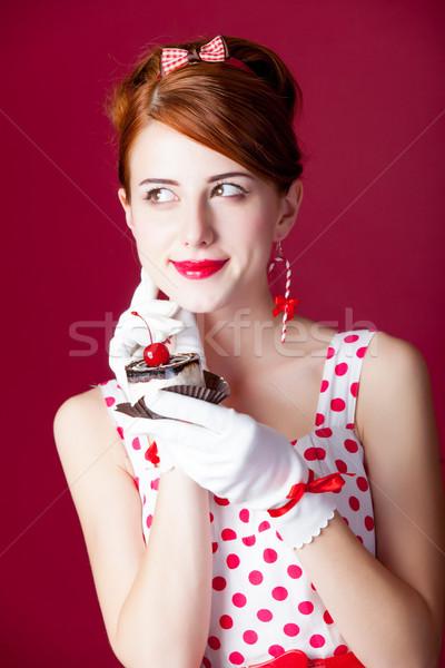 Fotoğraf güzel genç kadın bağbozumu noktalı elbise Stok fotoğraf © Massonforstock