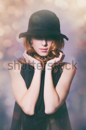 Portré gyönyörű vörös hajú nő lány kalap divat Stock fotó © Massonforstock