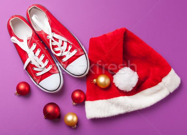 Foto stock: Seis · violeta · sapatos · natal · bolha · evento