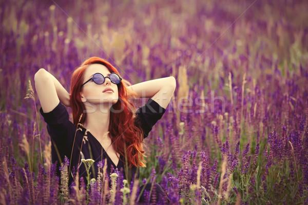 Meisje zonnebril lavendel veld portret mooie Stockfoto © Massonforstock