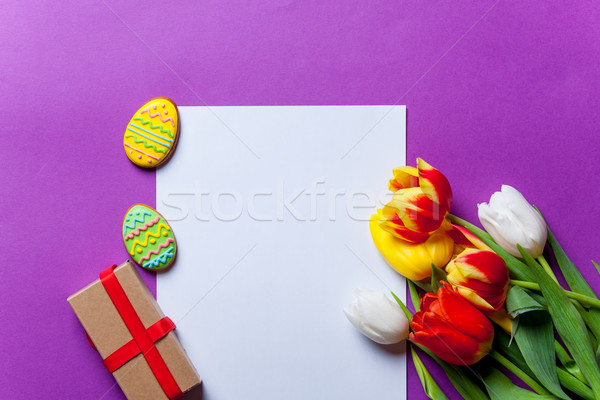 tulips and Easter eggs with paper  Stock photo © Massonforstock