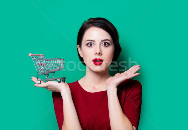 Portré fiatal nő bevásárlókosár zöld lány vásárlás Stock fotó © Massonforstock