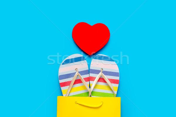 Colorido sandalias fresco bolsa de la compra corazón Foto stock © Massonforstock