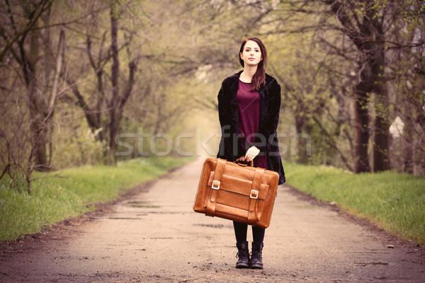 美麗 年輕女子 棕色 手提箱 常設 中間 商業照片 © Massonforstock