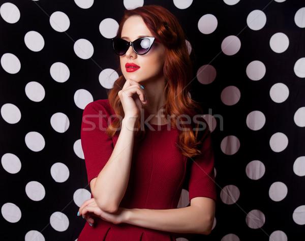Güzel genç kadın ayakta harika noktalı kadın Stok fotoğraf © Massonforstock