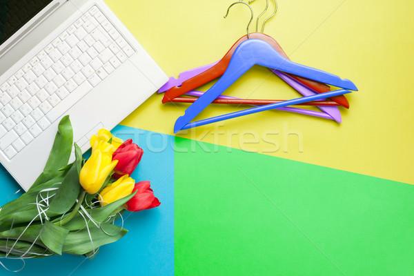 Monte tulipas laptop maravilhoso colorido Foto stock © Massonforstock