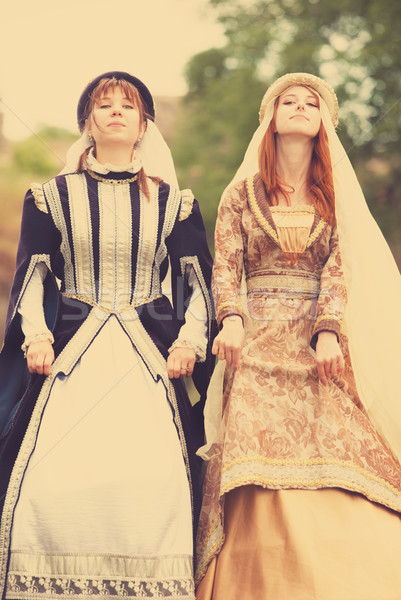 Two medieval ladys at outdoor Stock photo © Massonforstock