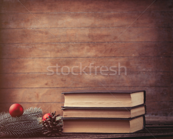 pine branch and books Stock photo © Massonforstock