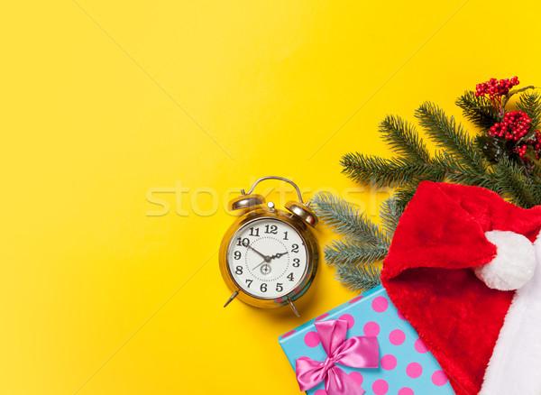 Сток-фото: будильник · Рождества · подарки · желтый · кофе · красный