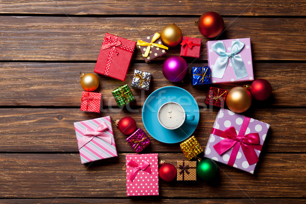 Сток-фото: Кубок · кофе · Рождества · подарки · красный