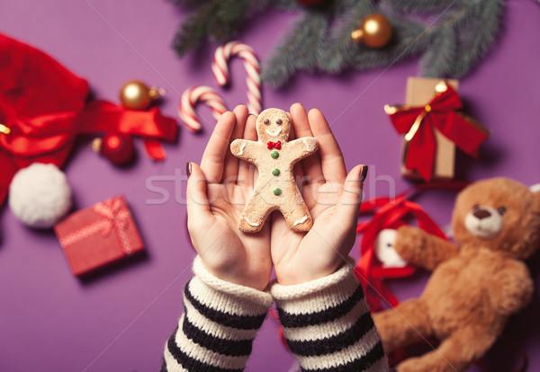 Eller gingerbread man kurabiye kadın Noel Stok fotoğraf © Massonforstock