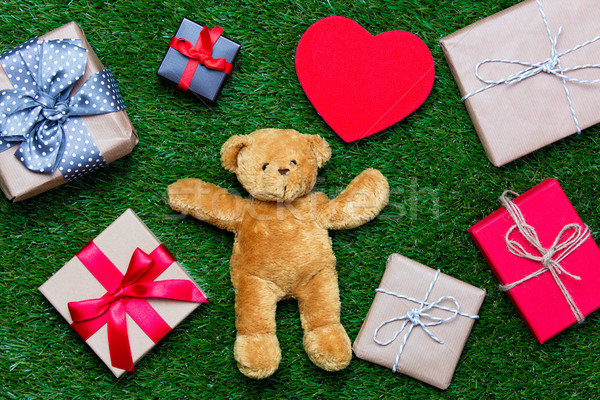 подарки игрушку мишка красочный красный сердце Сток-фото © Massonforstock