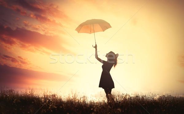 Sombra belo mulher jovem guarda-chuva maravilhoso sol Foto stock © Massonforstock