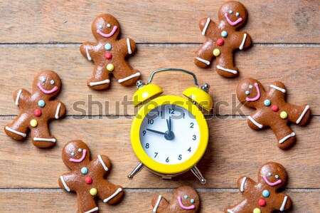 Beker koffie gingerbread man kerstman hoed wonder Stockfoto © Massonforstock