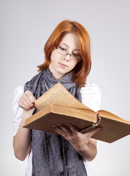 Genç moda kız gözlük eski kitap kadın Stok fotoğraf © Massonforstock