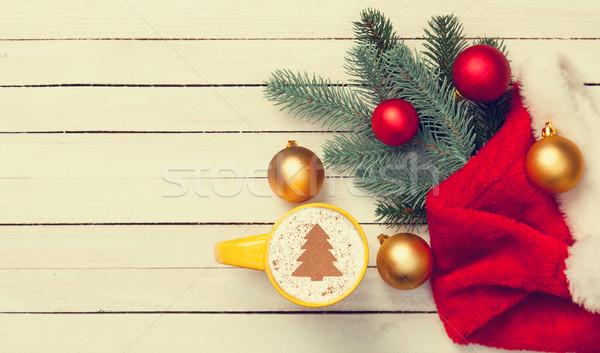 капучино рождественская елка форма Кубок деревянный стол кофе Сток-фото © Massonforstock