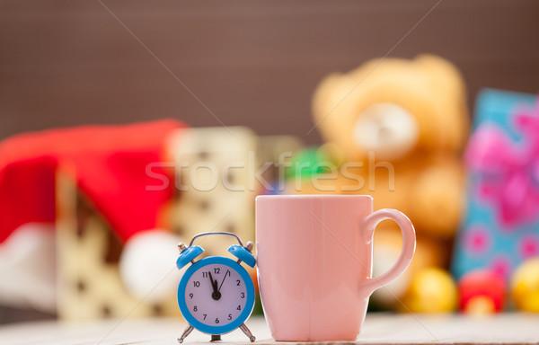 Сток-фото: будильник · Кубок · кофе · чай · Рождества · древесины