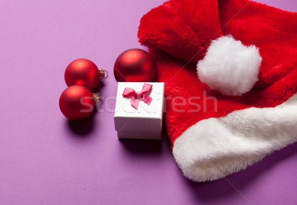 Santas hat and gift box  Stock photo © Massonforstock