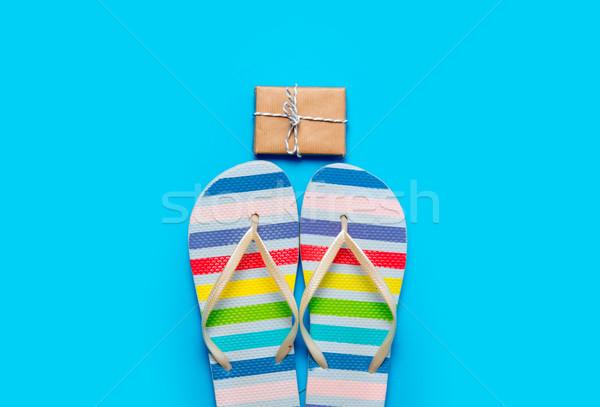 Colorido sandalias hermosa regalo maravilloso azul Foto stock © Massonforstock