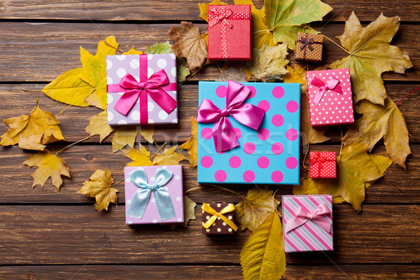 Gifts and leafs Stock photo © Massonforstock