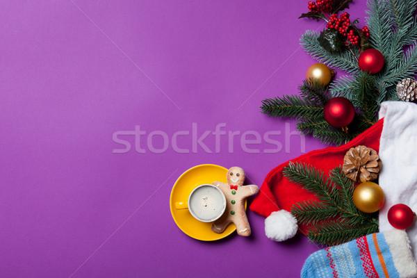 Gingerbread man tasse café Noël cadeaux violette Photo stock © Massonforstock