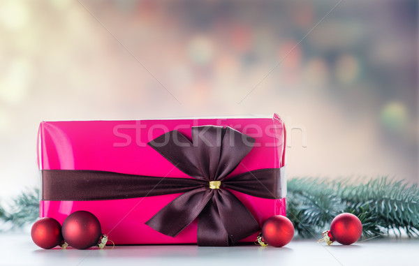 Christmas gift and baubles with pine branch Stock photo © Massonforstock
