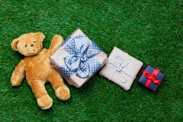 подарки мишка красочный Cute красивой зеленый Сток-фото © Massonforstock