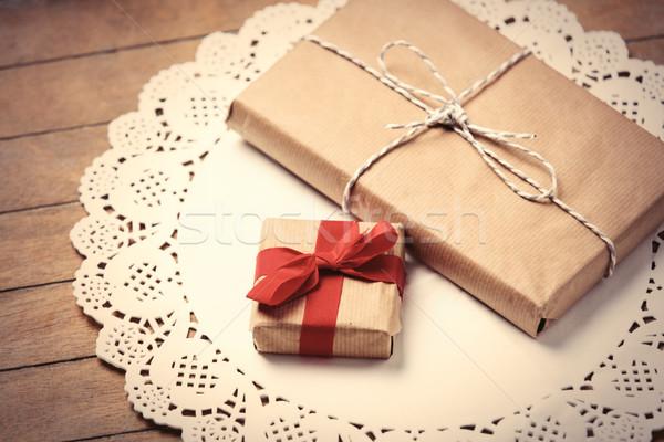 подарки салфетку красивой белый замечательный коричневый Сток-фото © Massonforstock
