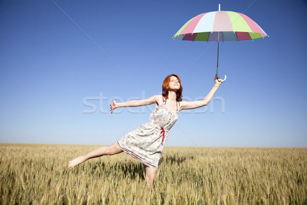Meisje paraplu veld natuur zomer tarwe Stockfoto © Massonforstock