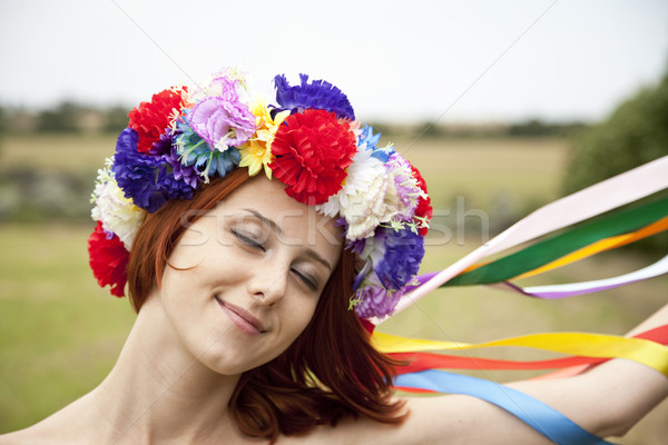 Slav girl with wreath at field Stock photo © Massonforstock