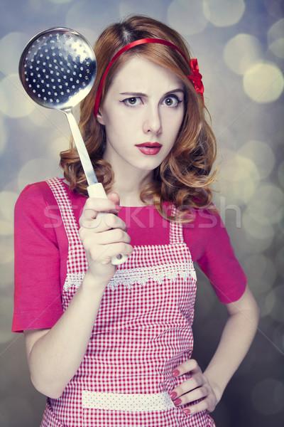 Vörös hajú nő háziasszony leves merőkanál nő lány Stock fotó © Massonforstock