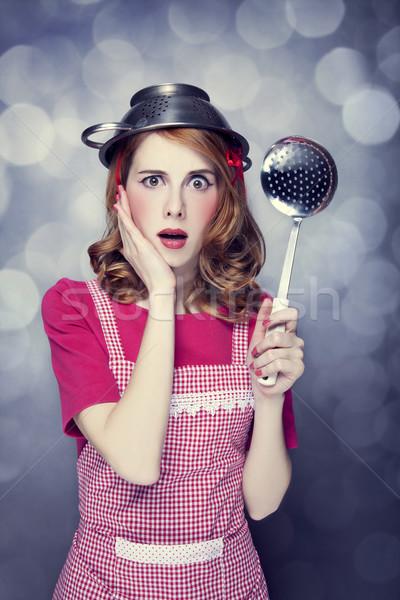 домохозяйка суп ковш девушки лице Сток-фото © Massonforstock