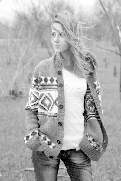 Young fashion girl at spring outdoor. Photo in black and white s Stock photo © Massonforstock