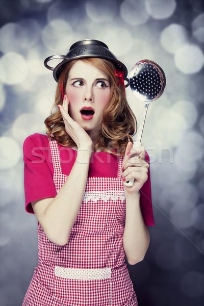 Ama de casa sopa cucharón nina cara Foto stock © Massonforstock
