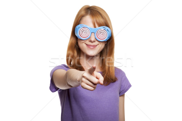 Vörös hajú nő lány vicces szemüveg nők absztrakt Stock fotó © Massonforstock