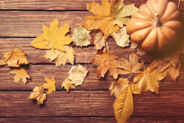 Stock photo: Pumpkin and leafs