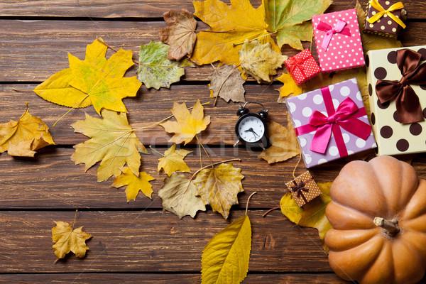 çalar saat hediyeler saat doğa turuncu kırmızı Stok fotoğraf © Massonforstock