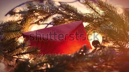 Christmas envelope and fairy lights  Stock photo © Massonforstock