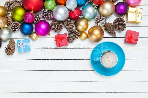 Stock fotó: Csésze · kávé · gyönyörű · karácsony · díszítések · csodálatos