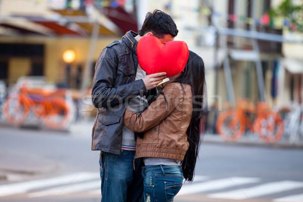Foto cute paar hart Stockfoto © Massonforstock