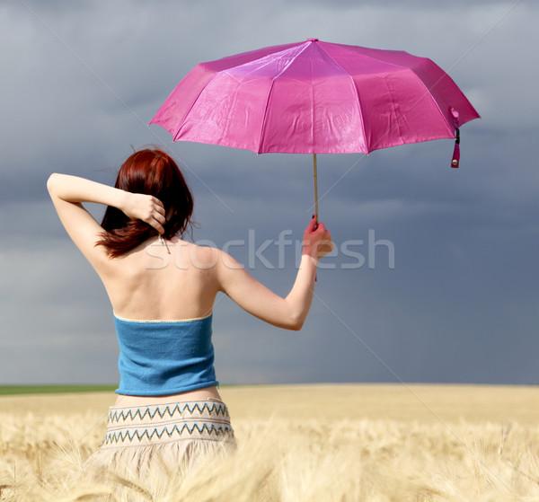Stok fotoğraf: Kız · fırtına · gün · şemsiye · doğa