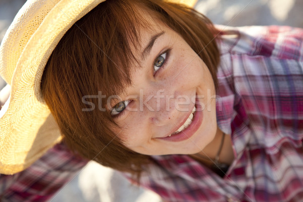 Close-up portrait of beautiful brunet girl. Stock photo © Massonforstock