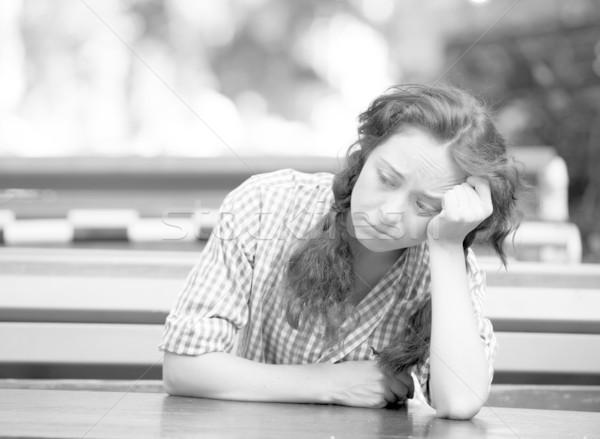 Stok fotoğraf: Kız · depresyon · fotoğraf · siyah · beyaz · stil