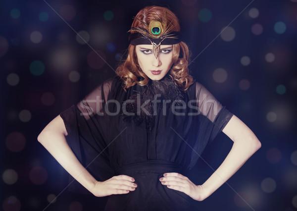 Meisje 20s stijl gezicht jonge Stockfoto © Massonforstock