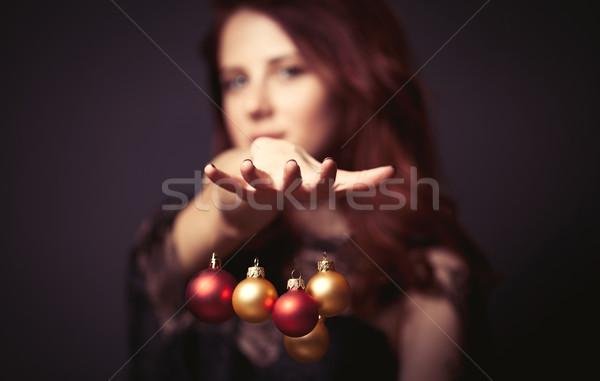Kadın portre güzel bir kadın stil elbise Noel Stok fotoğraf © Massonforstock