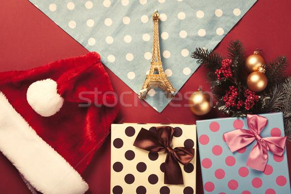 Эйфелева башня игрушку Рождества подарки красный цвета Сток-фото © Massonforstock