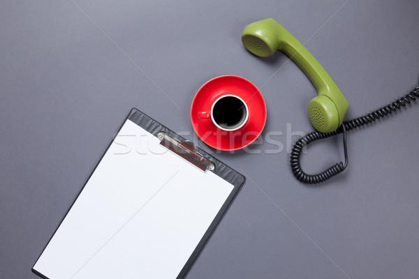 Tábla telefonkagyló kávé üzlet csésze zöld Stock fotó © Massonforstock